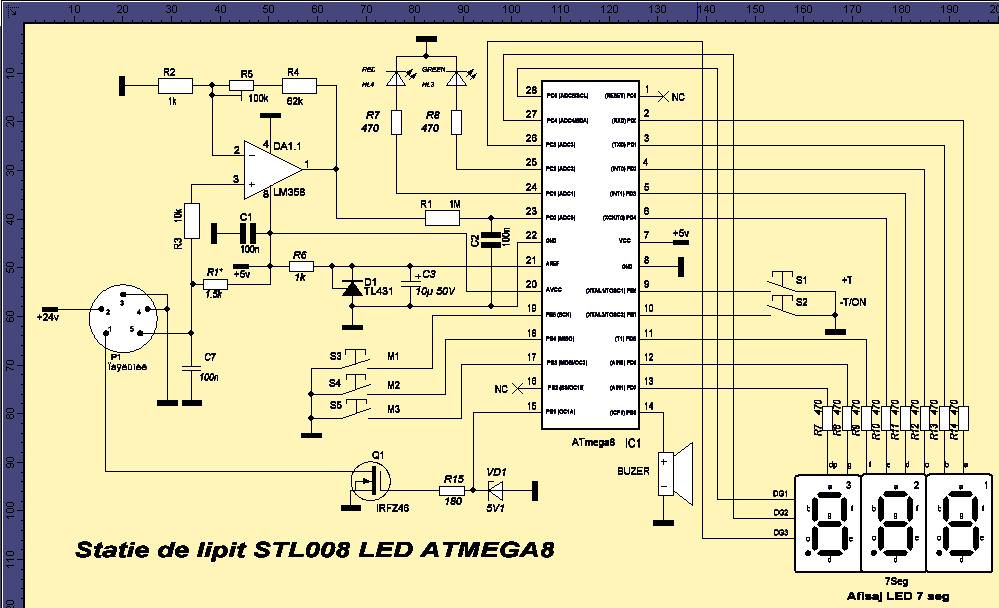 Schema statie de lipit STL008 LED ATMEGA8
